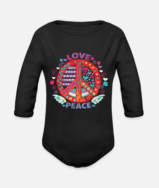 Movement Baby One Pieces - Peace Peace Sign - Organic Long-Sleeved Baby Bodysuit black
