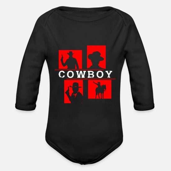 Usa Baby Clothing - cowboy gift horse revolver pistol - Organic Long-Sleeved Baby Bodysuit black
