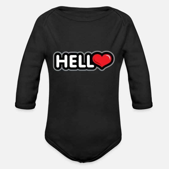 Birthday Baby Clothing - Hello present - Organic Long-Sleeved Baby Bodysuit black