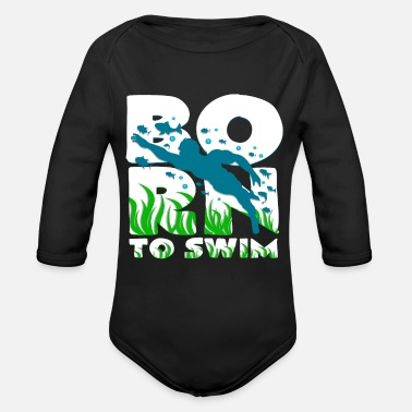 Childbirth Born to swim Swimmers Pregnant childbirth - Organic Long-Sleeved Baby Bodysuit