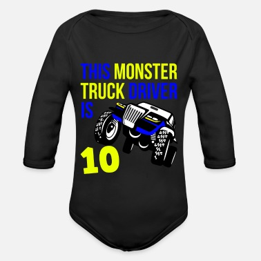 Old Monster Truck Birthday 10 Year Old Gift - Organic Long-Sleeved Baby Bodysuit