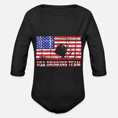 USA Beer Drinking Team gift : Funny Gift for - Organic Long-Sleeved Baby Bodysuit