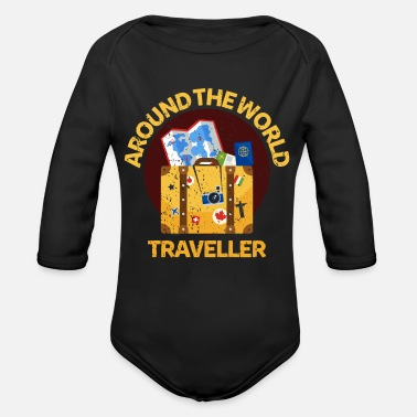 World Travel World traveler wanderer - Organic Long-Sleeved Baby Bodysuit