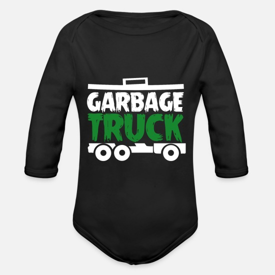 Green Baby Clothing - garbage Truck refuse collector orange gift - Organic Long-Sleeved Baby Bodysuit black