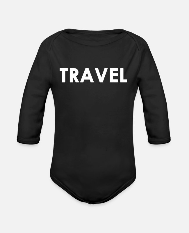 Travel Baby One Pieces - Travel Traveling Traveller Gift - Organic Long-Sleeved Baby Bodysuit black