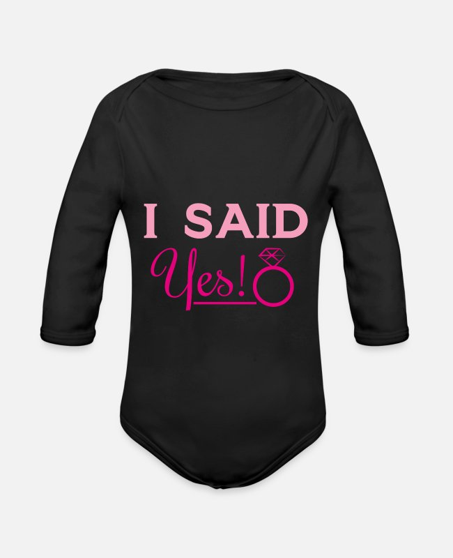 Bachelorette Party Baby One Pieces - Engagement Proposal of Marriage - Organic Long-Sleeved Baby Bodysuit black