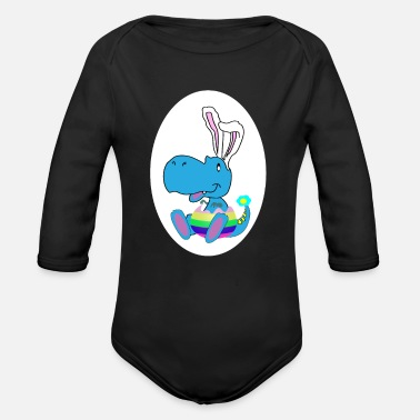 Rex easter dino baby - Organic Long-Sleeved Baby Bodysuit