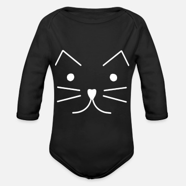 Long Cute Cat Kitten Tumblr cropped swag - Organic Long-Sleeved Baby Bodysuit