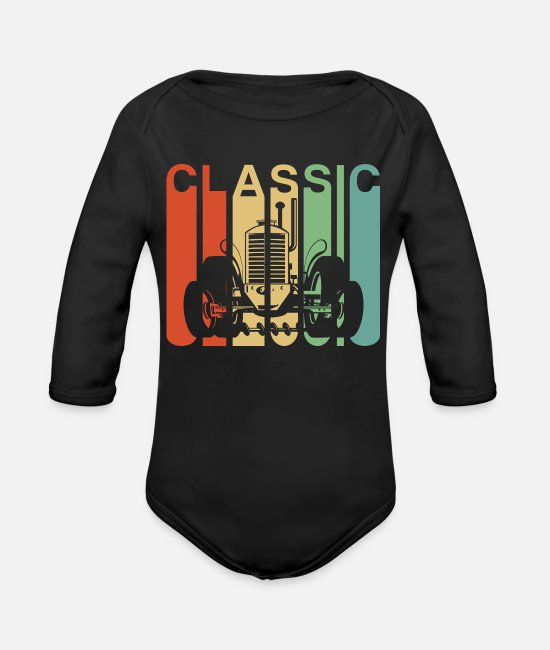 Grandpa Baby One Pieces - Vintage Retro Farming Tractor Gift - Organic Long-Sleeved Baby Bodysuit black