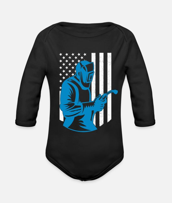 Usa Baby One Pieces - American Flag Welding Fabricator Gift for Welder - Organic Long-Sleeved Baby Bodysuit black