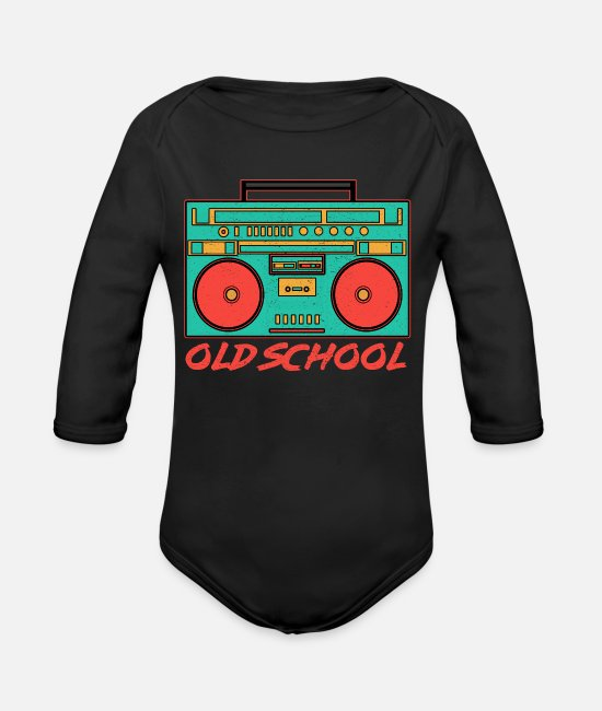 Clothing Baby One Pieces - Retro 80s Boombox Old School Stereo 80s Gift - Organic Long-Sleeved Baby Bodysuit black