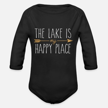 The Lake Is My Happy Place - Cute Lake House - Organic Long-Sleeved Baby Bodysuit
