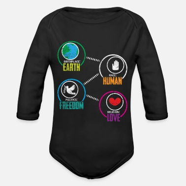 Race Birthplace Earth Race Human Peace Freedom - Organic Long-Sleeved Baby Bodysuit
