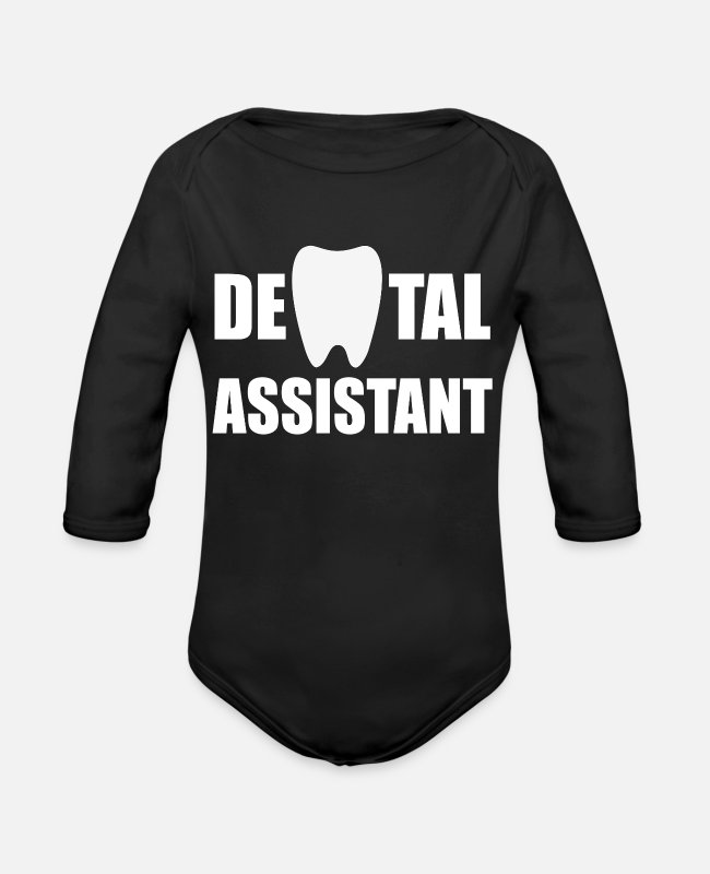 Dental Hygienist Baby One Pieces - laboratory duties prosthetics examining mouth wash - Organic Long-Sleeved Baby Bodysuit black