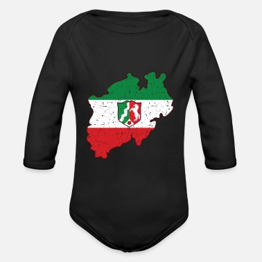 North Rhine-westphalia NRW North Rhine-Westphalia coat of arms flag gift - Organic Long-Sleeved Baby Bodysuit