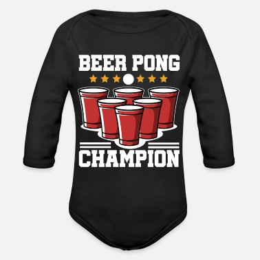 Drink Beer Pong Champion T-Shirt Ball Gift Accessory - Organic Long-Sleeved Baby Bodysuit