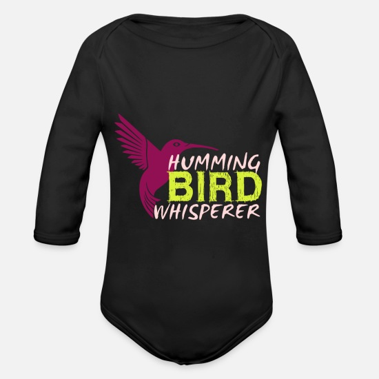 Lover Baby Clothing - Humming Bird Whisperer, Gift, Gift Idea - Organic Long-Sleeved Baby Bodysuit black