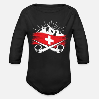 Swiss Swiss Suisse Swiss flag Alps Hiking shirt gift - Organic Long-Sleeved Baby Bodysuit