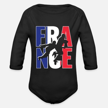 Rugby Supporters France Rugby 2019 Fans Kit for French Supporters, - Organic Long-Sleeved Baby Bodysuit