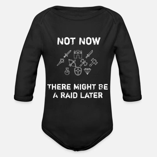 Rpg Baby Clothing - Funny Video Gamer Geek Raid Later - Organic Long-Sleeved Baby Bodysuit black