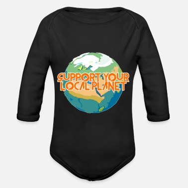 Enviromental Support Your Local Planet Enviromental Protection - Organic Long-Sleeved Baby Bodysuit