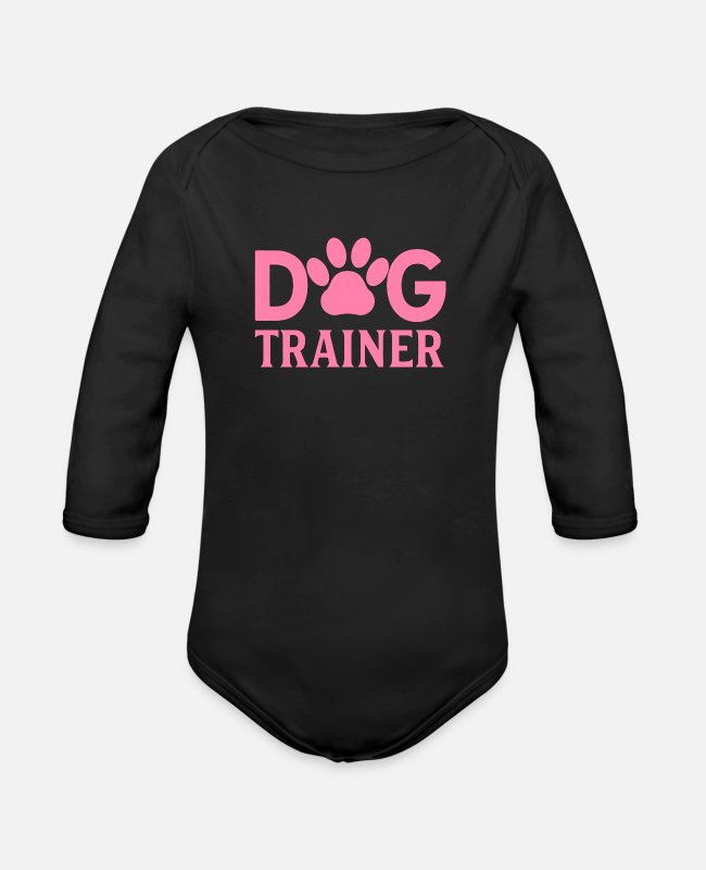 Training Baby One Pieces - Dog Trainer - Organic Long-Sleeved Baby Bodysuit black