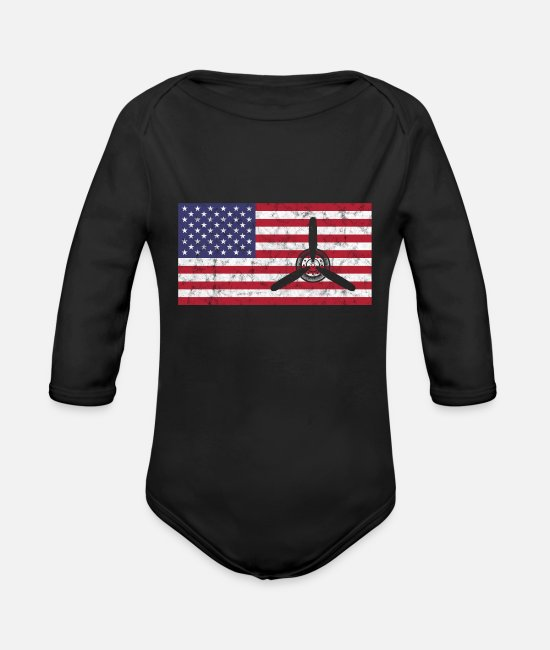 Pilot Baby One Pieces - Propeller Plane Pilot America Flag - Organic Long-Sleeved Baby Bodysuit black