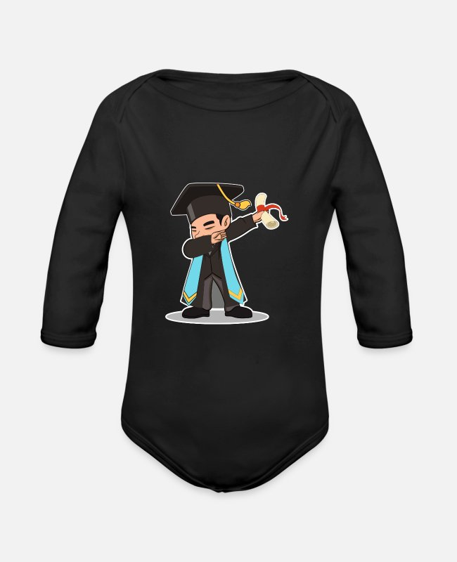 Master's Degree Baby One Pieces - High School College Graduation Dab Grad Gift - Organic Long-Sleeved Baby Bodysuit black