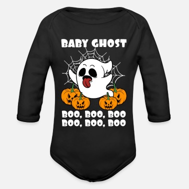 Ghost Halloween Baby Ghost Boo Boo Boo Kids Funny Gift - Organic Long-Sleeved Baby Bodysuit