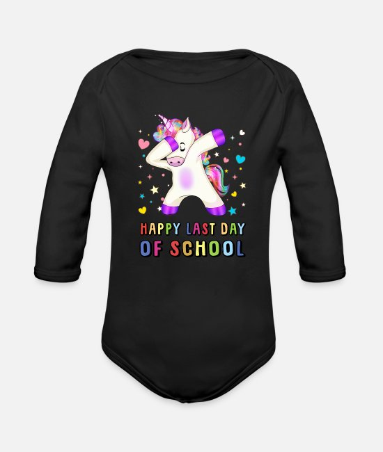 St Baby One Pieces - Happy Last Day Of School Teacher Student Grad - Organic Long-Sleeved Baby Bodysuit black