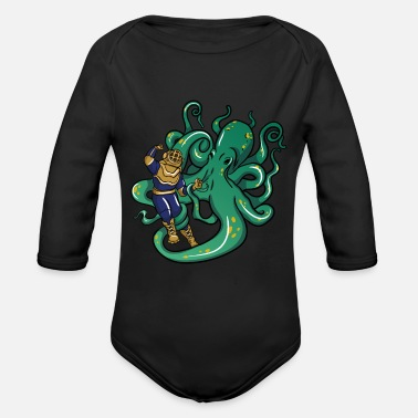 Octopus Diver Diver fighting Octopus - Organic Long-Sleeved Baby Bodysuit