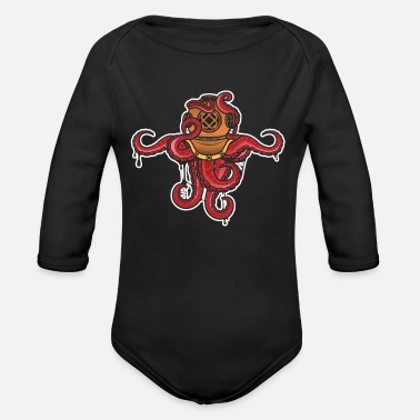 Octopus Diver Octopus Diver - Organic Long-Sleeved Baby Bodysuit