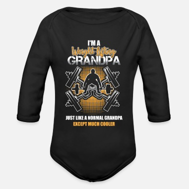 Lifting Weight Lifting Grandpa| Barbells| Normal Cooler - Organic Long-Sleeved Baby Bodysuit