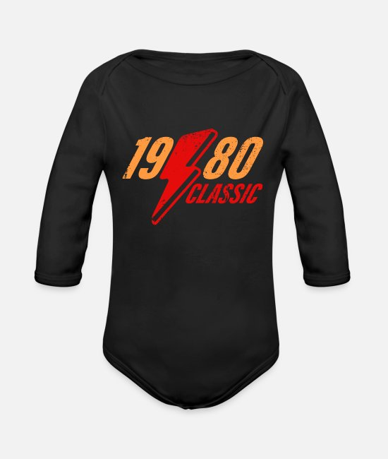 Legend Baby One Pieces - 1980 Flash - Organic Long-Sleeved Baby Bodysuit black