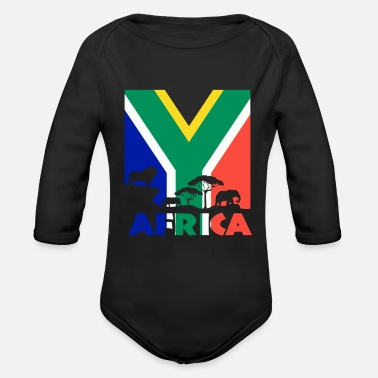 South Animals of Africa with South African Flag - Organic Long-Sleeved Baby Bodysuit