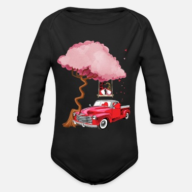 Red Gnomes red truck tree - Valentine's day - Organic Long-Sleeved Baby Bodysuit