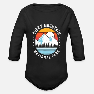Rocky Mountain National Park Retro Hiking Funny Hi - Organic Long-Sleeved Baby Bodysuit