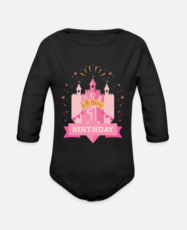 Prince Baby One Pieces - Girl first birthday - Organic Long-Sleeved Baby Bodysuit black