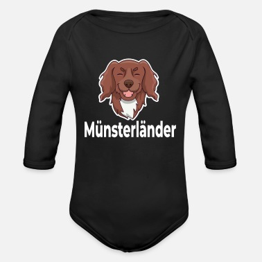 Wait Munsterlander Dog Happy Smiling - Organic Long-Sleeved Baby Bodysuit