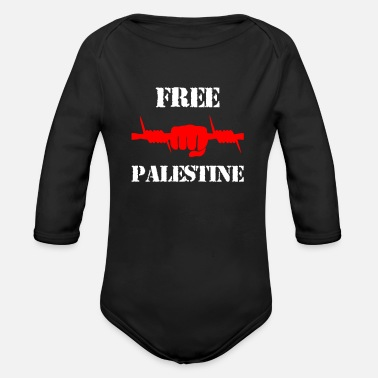 Free Free Palestine - Stop Killing Palestinian Fight - Organic Long-Sleeved Baby Bodysuit