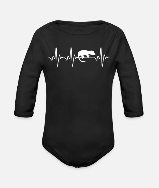 Animal Rescue Baby Clothing - Crested Gecko Heartbeat - Organic Long-Sleeved Baby Bodysuit black