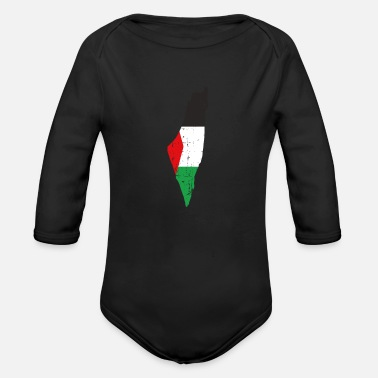 Freedom The Palestine Map And Flag - Falastine Wants - Organic Long-Sleeved Baby Bodysuit