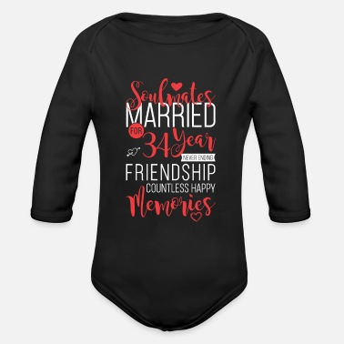 Wife Soulmates Married for 34 Year Never Ending - Organic Long-Sleeved Baby Bodysuit