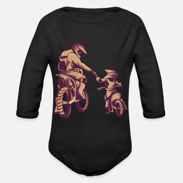 Dirt Bike Title: Motocross Dirt Bike Fathers Day - Organic Long-Sleeved Baby Bodysuit