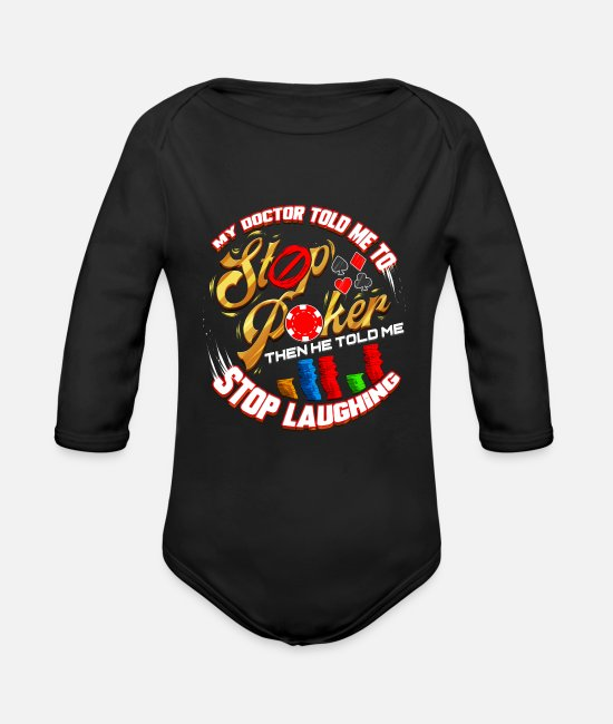 Ace Baby One Pieces - Poker Player Gambling Card Game Addict Gambler Gif - Organic Long-Sleeved Baby Bodysuit black