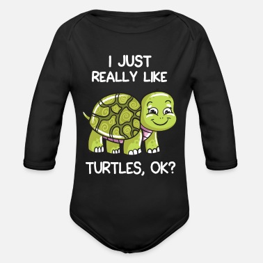 Ok I Just Really Like Turtles, OK? - Organic Long-Sleeved Baby Bodysuit