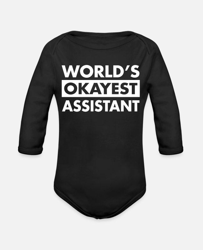 Helper Baby One Pieces - FUNNY ASSISTANT SHIRT - Organic Long-Sleeved Baby Bodysuit black