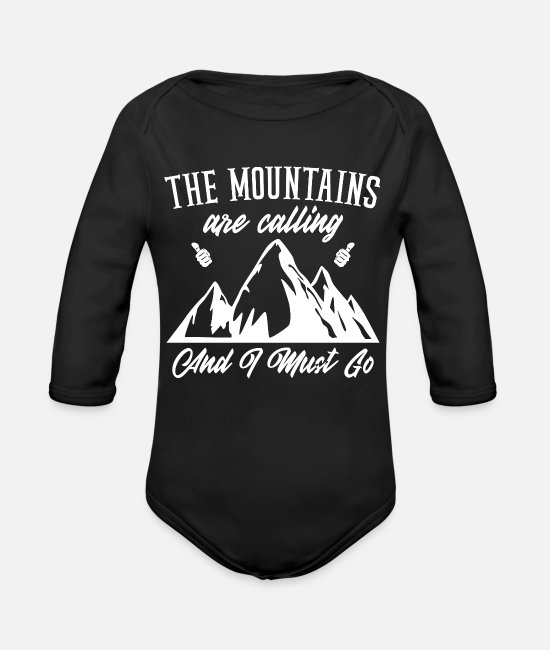 Mountains Baby One Pieces - the mountains are calling and i must go - Organic Long-Sleeved Baby Bodysuit black