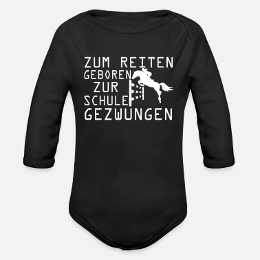 Equitation horse riding equitation saying school children - Organic Long-Sleeved Baby Bodysuit