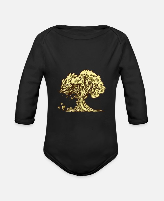 Nature Baby One Pieces - Tree - Organic Long-Sleeved Baby Bodysuit black
